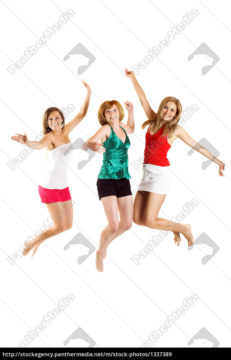 three, young, woman, jumping - 1337389