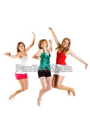 three, young, woman, jumping - 1337389