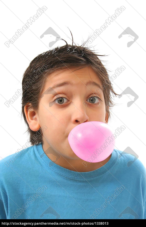 boy, blowing, a, pink, bubble, gum - 1338013