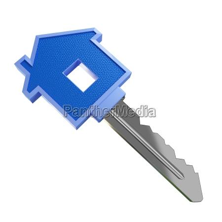 isolated, blue, house, key - 1339155