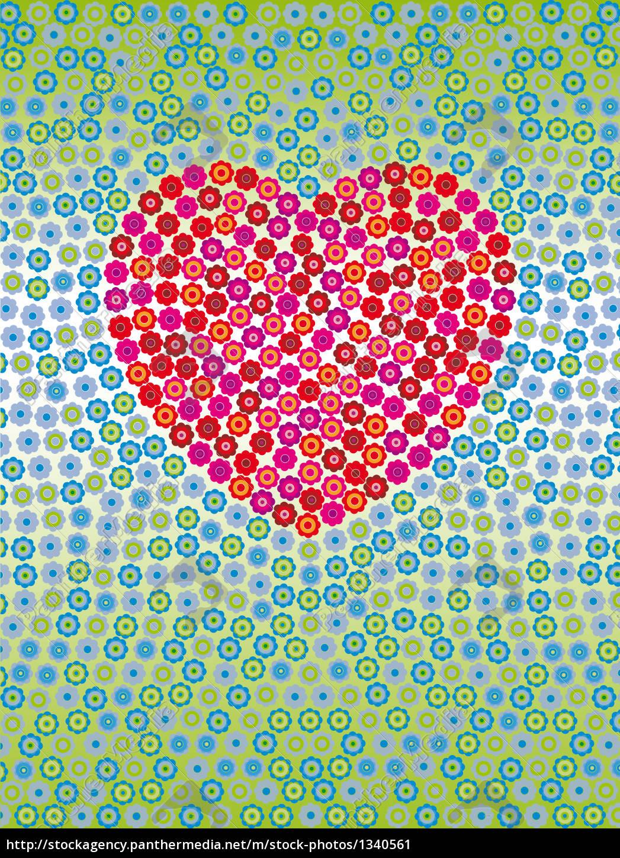 floral, heart, mosaic - 1340561