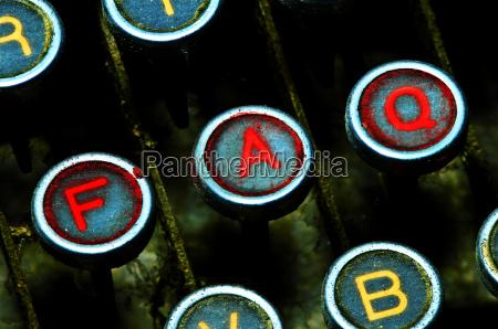 close, up, on, typewriter, faq, keys - 1345195