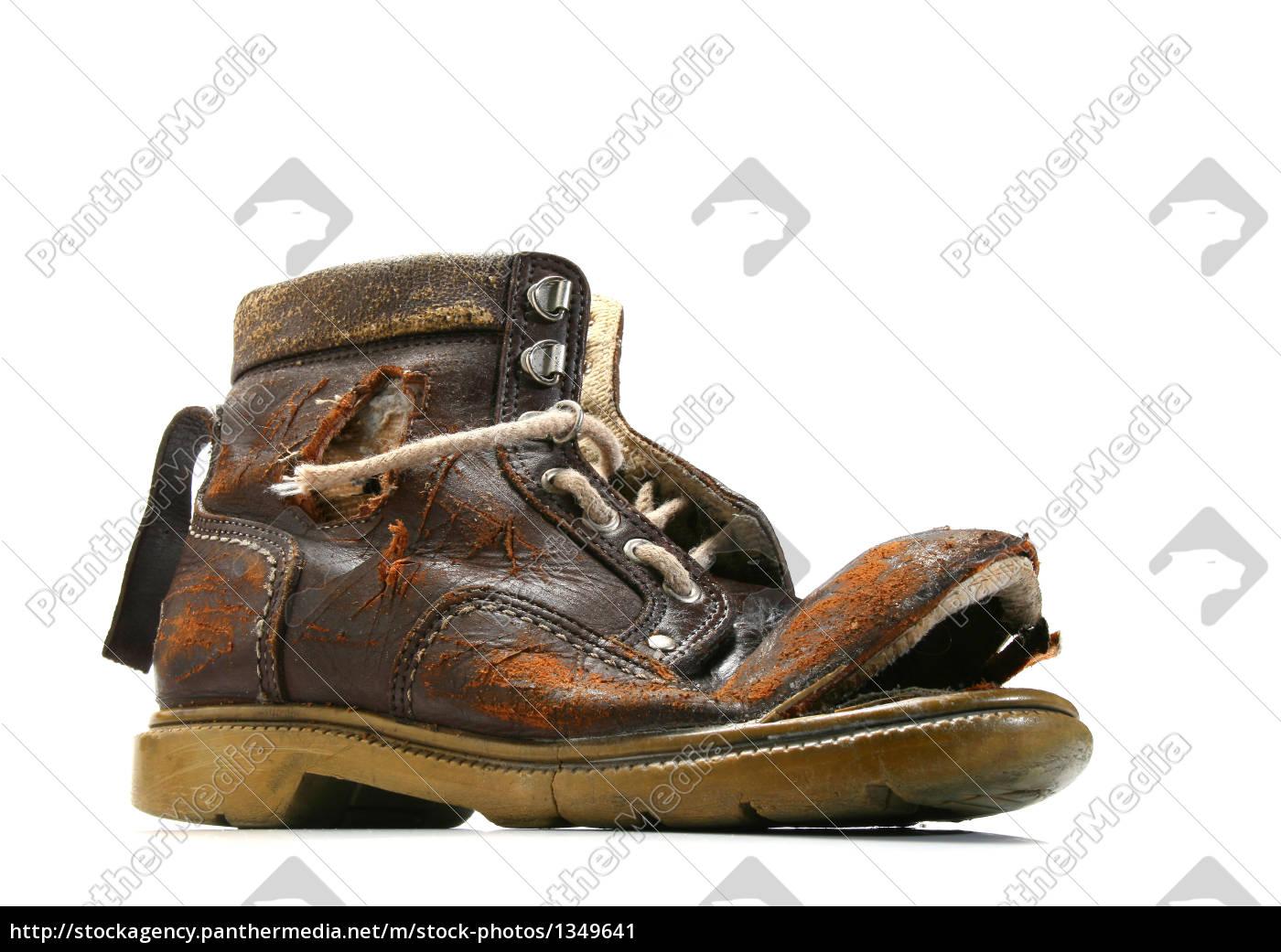 old, and, bronken, shoe. - 1349641