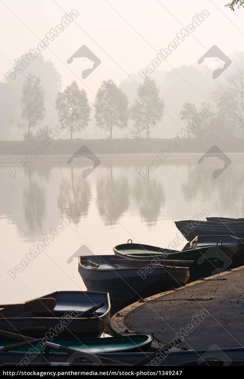 rowing, boats, at, misty, pond - 1349247