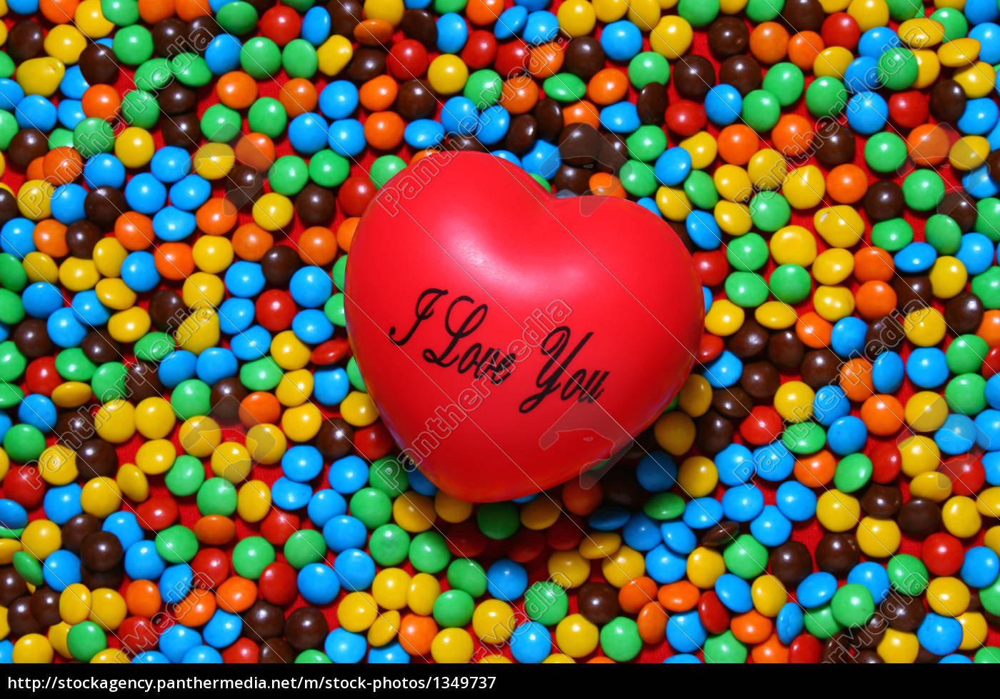 soft, red, heart, over, candy, background - 1349737