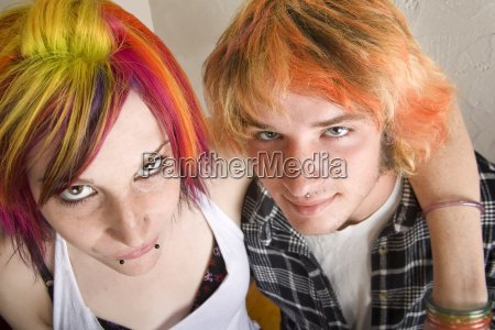 young couple with bright colored hair