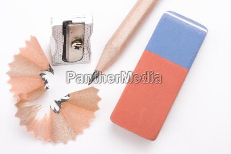 pencilsa sharpener and eraser