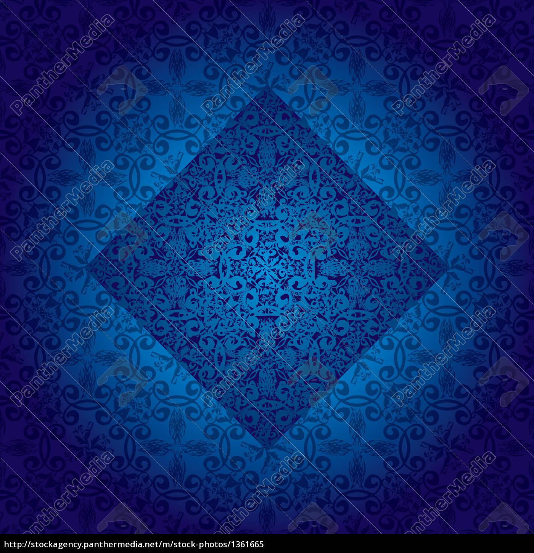 floral, fancy, repeat, blue - 1361665