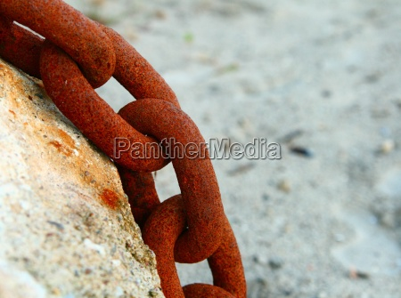 chain iron metal rust tethered anchor