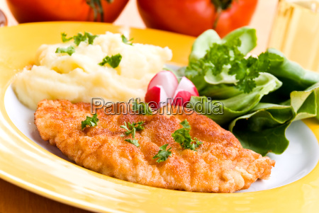 cutlet, with, puree, salad, - 1363051
