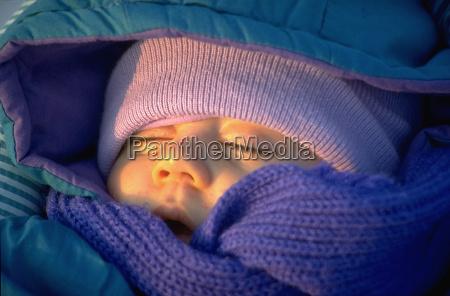 baby, is, sleeping, deeply, evening, sun, winter - 1364517