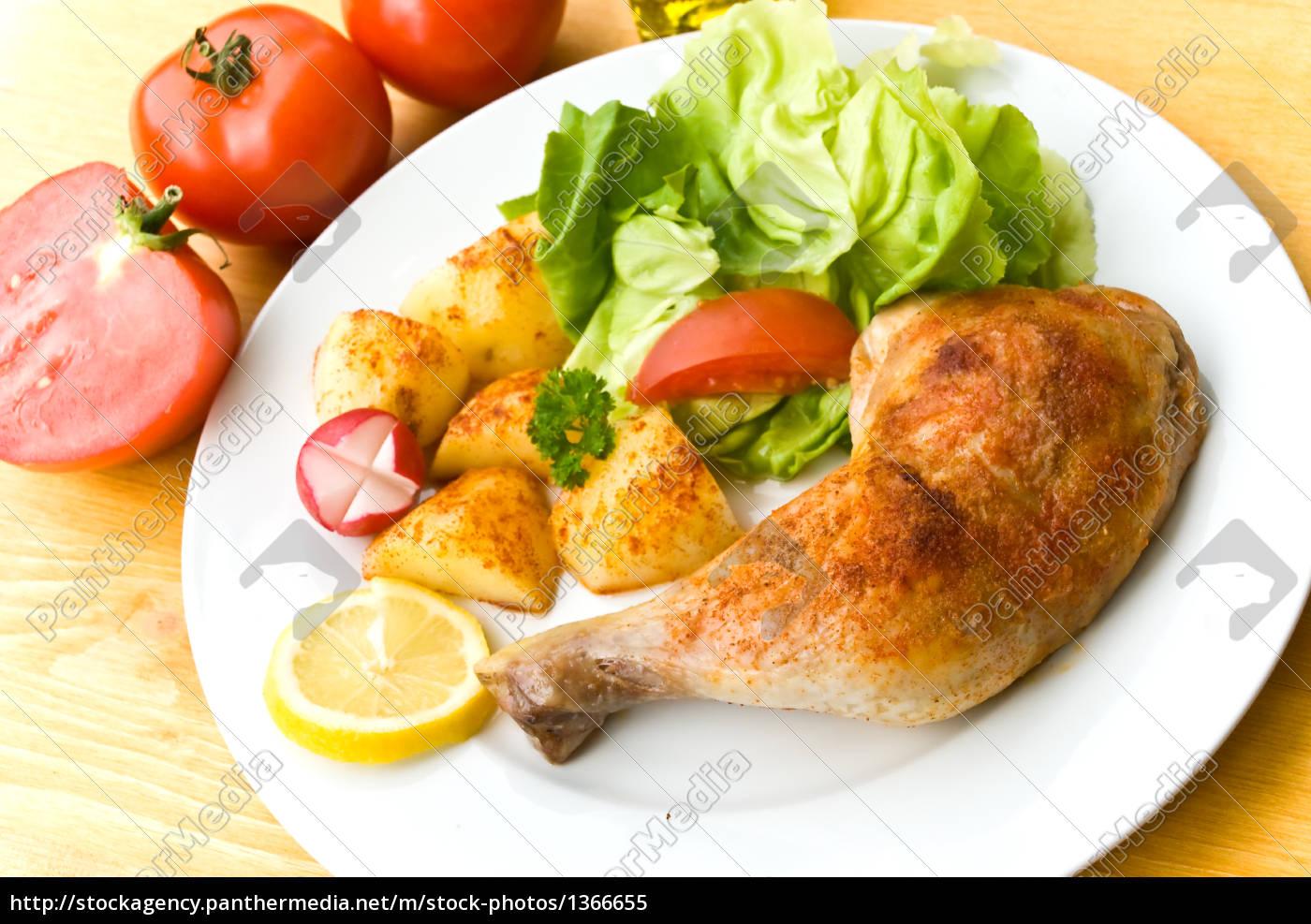chicken, leg, fried, with, brat - 1366655