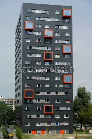 facade, skyscraper, anthracite, orange - 1368721