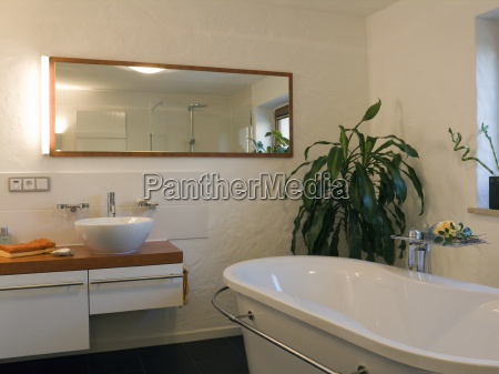 bathroom, modern, with, textured, plaster, trowel - 1374057