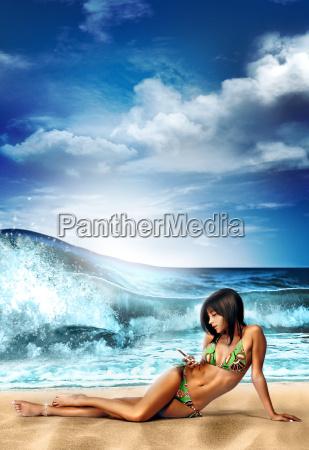 beach, girl - 1387157