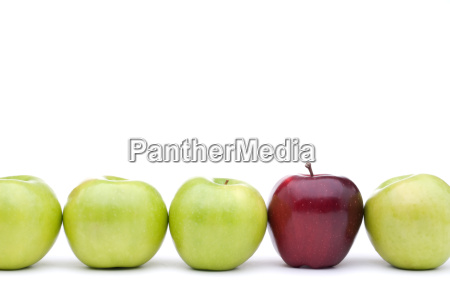 green, apples, with, an, individual, red - 1389405