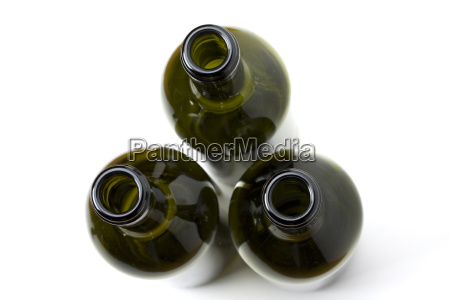 seen three wine bottles from above