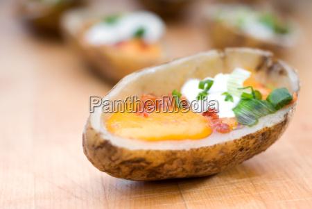shallow focus potato skins