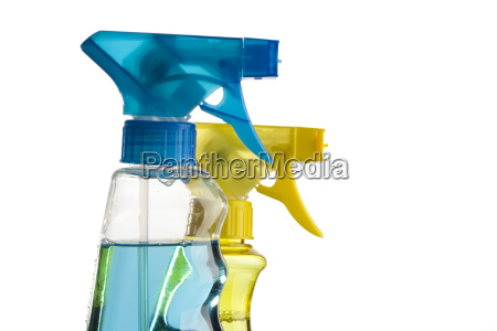 blue and yellow spray bottle