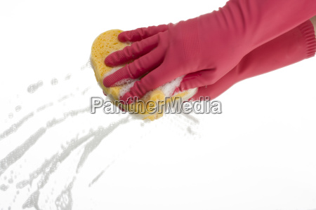 pink gloves when cleaning