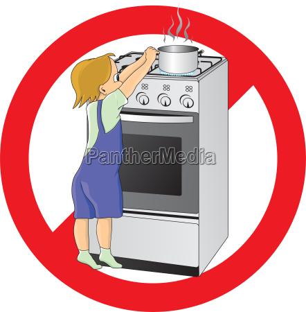 child at danger in kitchen