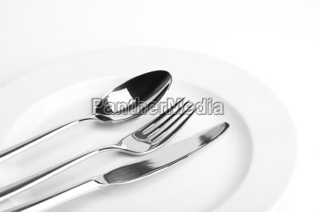 forkknifespoon and a white plate
