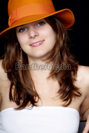 woman with orange hat