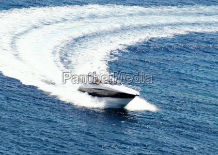 motor yacht at full speed