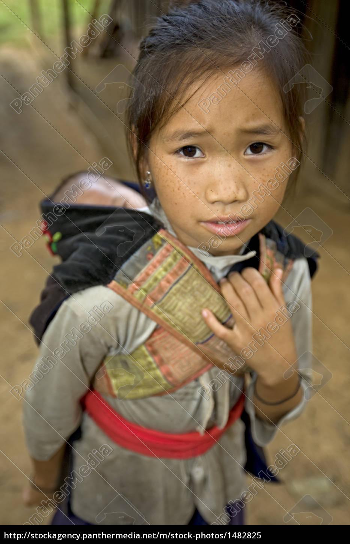 hmong, girl, with, brother, laos - 1482825