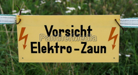 caution sign electric fence