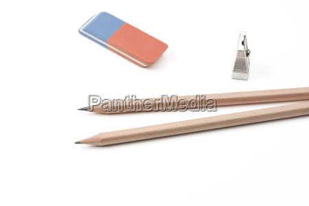 a pena sharpener and an eraser