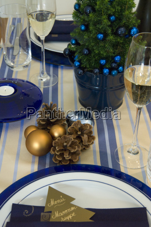 blue covered table