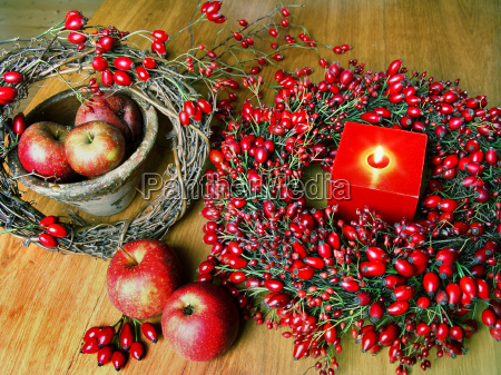 autumn decoration with rosehips