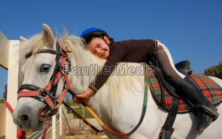 little, girl, and, shetland, pony - 1537413