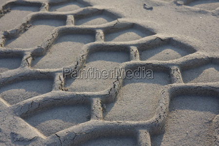 tire tracks in the fine sand