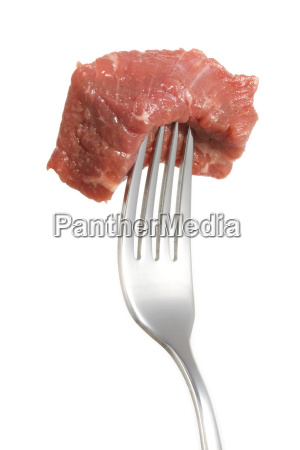 piece of meat on a fork