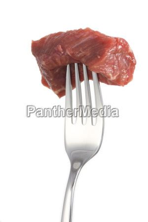 piece, of, meat, on, a, fork, isolated - 1548619