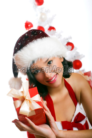 laughing, christmas, woman, with, gift - 1581739