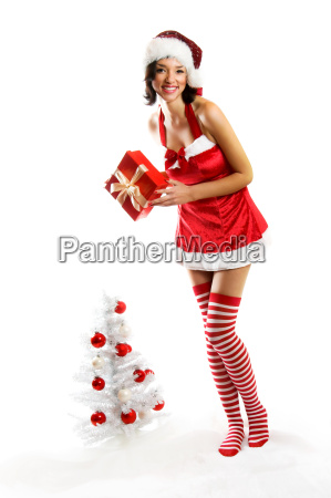 laughing, christmas, woman, with, gift - 1581789