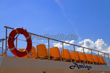 rail lifebelt deck firmament sky chair