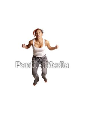 woman fist spring bouncing bounces hop