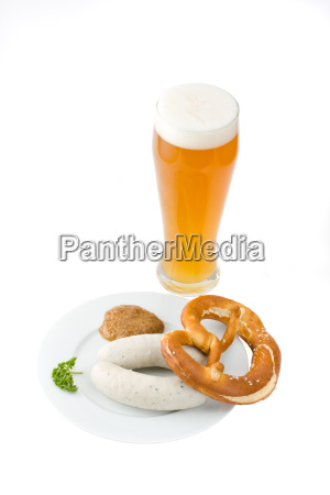 bavarian white sausagewheat beer and pretzel