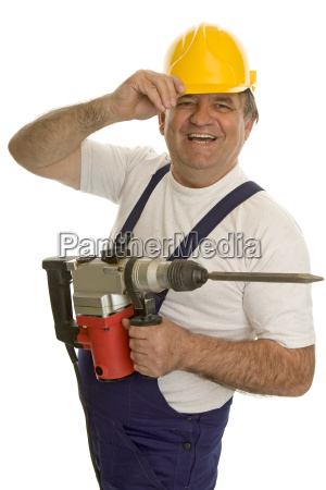 worker with hammer and helmet
