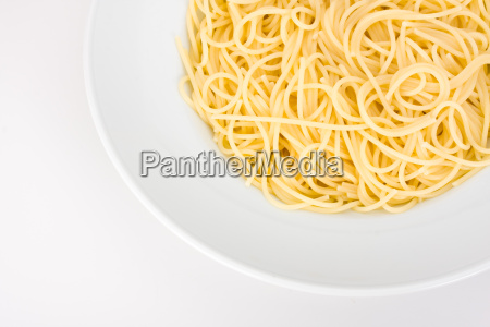 spaghetti in a white plate on