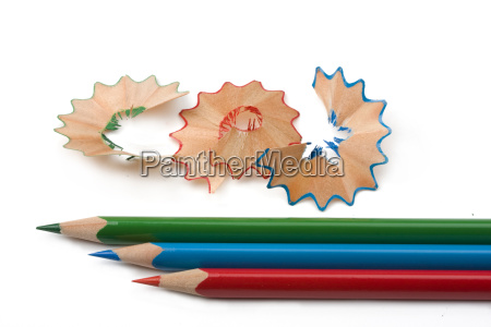 wood chippings and colored pens