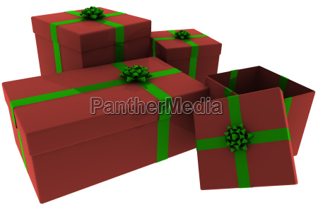 rendered, red, and, green, presents, with - 1617335