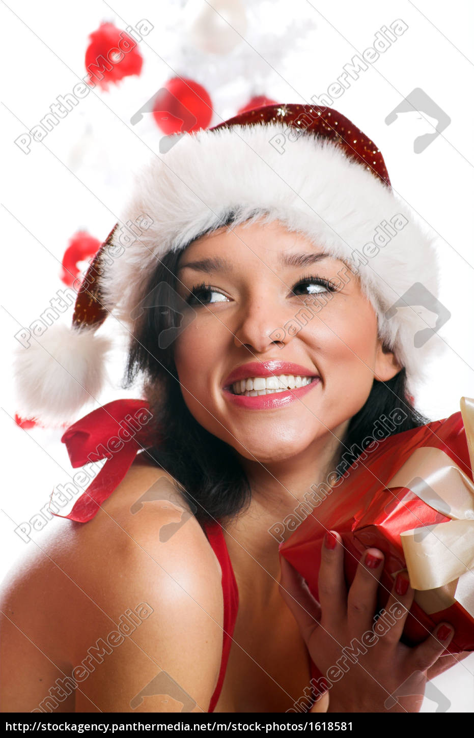 laughing, christmas, woman, with, gift - 1618581