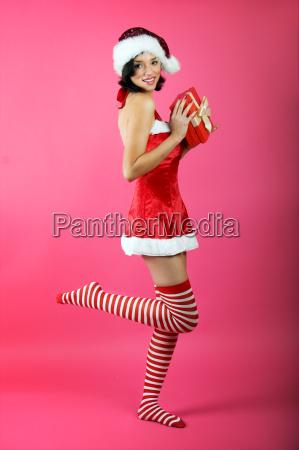 christmas, woman, with, gift - 1620529