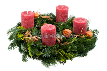 advent, wreath, isolated, on, white - 1629301