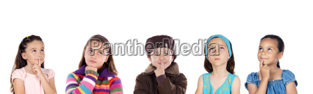 group of five children thinking